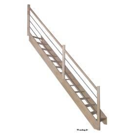 escalier hêtre + rampe a lisse métal poteaux bois