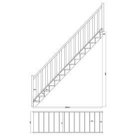 Escalier droit hêtre rampe à lisses métales