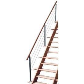 Escalier droit hêtre avec rampe à câbles