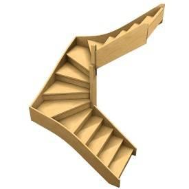 escalier confort double quart tournant bois Albula
