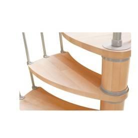 Escalier hélicoïdal en hêtre  Rampe bi-matière