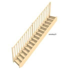 Escalier droit avec contremarches et rampe à fuseaux