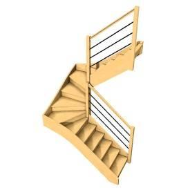 Escalier double quart...