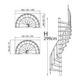 Escalier hélicoïdal en sapin faible encombrement