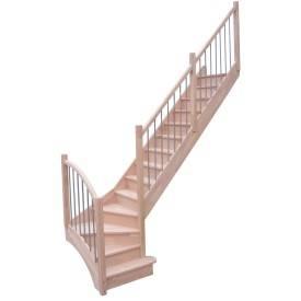 Escalier 1/4 tournant hêtre + rampe bi-matière