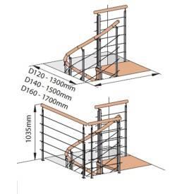Escalier colimaçon en hêtre rampe à câble