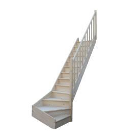 Escalier 1/4 tournant bas sapin