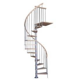 Escalier colimaçon métal epoxy gris + marche hêtre