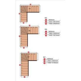 Escalier modulable 1/4 tournant hêtre