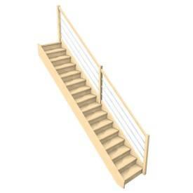 Escalier droit confortable rampe lisses métal