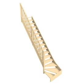 escalier quart tournant bois confort rampe fuseau