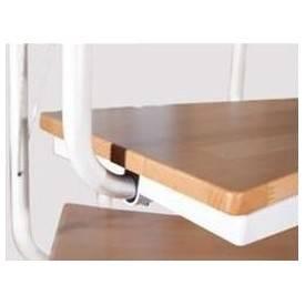 Escalier colimaçon métal blanc, marche métal, aulne ou hêtre