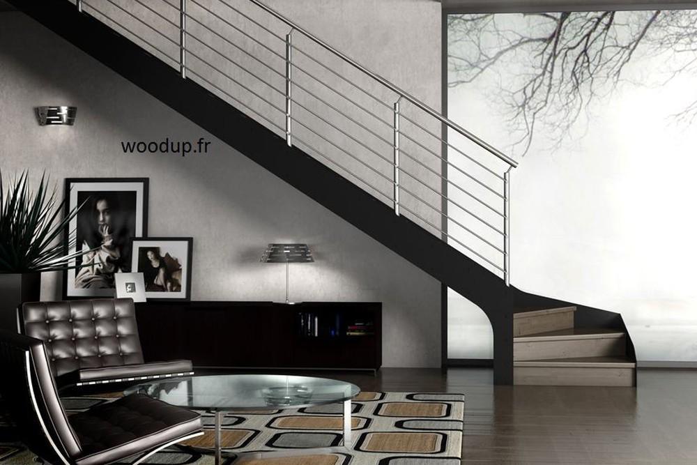 Escalier limon métal marche bois